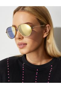 MONCLER - Okulary przeciwsłoneczne. Kolor: złoty. Materiał: materiał
