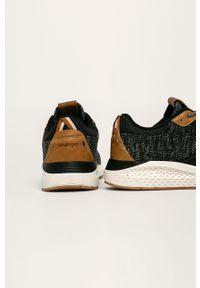 Czarne sneakersy Wrangler z cholewką, na sznurówki, z okrągłym noskiem