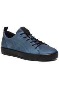 Niebieskie sneakersy ecco na co dzień, z cholewką