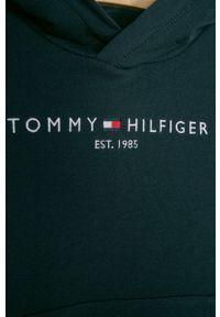 Niebieska bluza TOMMY HILFIGER na co dzień, z aplikacjami, casualowa, z kapturem