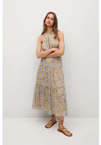 mango - Mango - Sukienka PURPLE. Typ kołnierza: dekolt halter. Kolor: niebieski. Materiał: tkanina. Typ sukienki: rozkloszowane