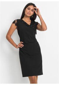 Czarna sukienka bonprix elegancka, z krótkim rękawem