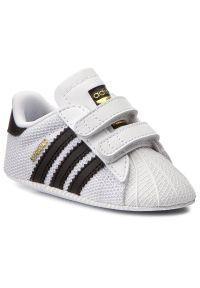 Białe półbuty Adidas na rzepy, na spacer