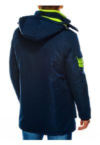 Niebieska kurtka Ombre Clothing z kapturem, na zimę