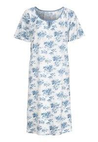 Cellbes Koszula nocna z krótkim rękawem niebieski w kwiaty female niebieski/ze wzorem 50/52. Kolor: niebieski. Materiał: jersey. Długość: krótkie. Wzór: kwiaty