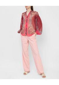 TwinSet - Kreponowa koszula z długim rękawem Twinset. Kolor: różowy. Materiał: poliester. Długość rękawa: długi rękaw. Długość: długie. Styl: klasyczny