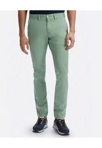 North Sails - NORTH SAILS - Zielone spodnie Slim-fit Chinos. Kolor: zielony. Materiał: len, materiał. Wzór: aplikacja