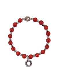 Czerwona bransoletka Lancerto z koralem, metalowa