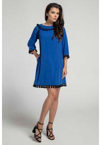 Niebieska sukienka Nommo wizytowa, trapezowa