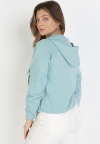 Born2be - Miętowa Bluza Euthelphise. Kolor: miętowy. Materiał: bawełna, dzianina, jeans. Długość rękawa: raglanowy rękaw. Długość: długie. Wzór: aplikacja