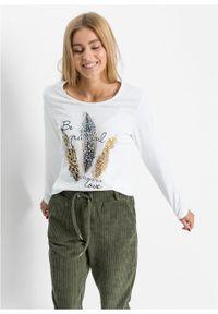Biała bluzka bonprix długa, z nadrukiem #6