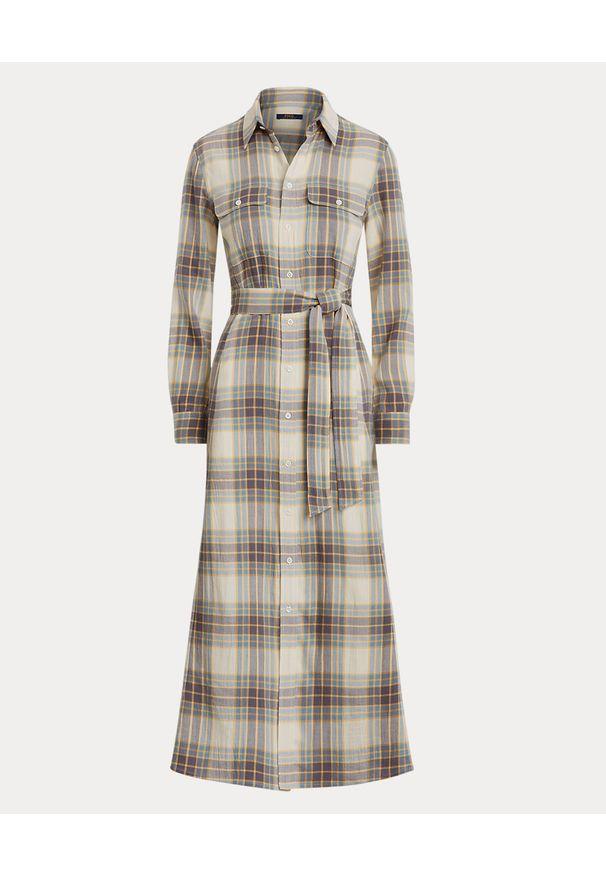 Ralph Lauren - RALPH LAUREN - Sukienka w kratę z paskiem. Typ kołnierza: polo. Kolor: beżowy. Materiał: materiał, bawełna. Długość rękawa: długi rękaw. Sezon: jesień. Typ sukienki: koszulowe