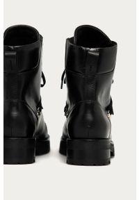 Czarne botki AllSaints na sznurówki, z cholewką, bez obcasa, z okrągłym noskiem
