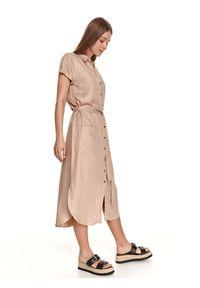 TOP SECRET - Koszulowa sukienka midi z wiązaniem. Kolor: beżowy. Długość rękawa: krótki rękaw. Sezon: lato. Typ sukienki: koszulowe. Styl: elegancki. Długość: midi