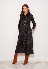 e-margeritka - Sukienka koszulowa długa elegancka - 36. Okazja: do pracy. Materiał: materiał, poliester. Długość rękawa: długi rękaw. Typ sukienki: koszulowe. Styl: elegancki. Długość: maxi