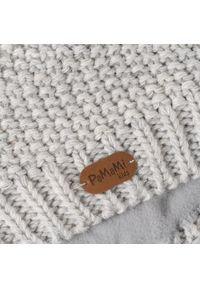 Czapka dziewczęca z futerkowym pomponem PaMaMi- Off-white. Materiał: poliamid, akryl