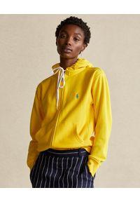 Ralph Lauren - RALPH LAUREN - Żółta bluza Relaxed fit. Typ kołnierza: polo. Kolor: żółty. Materiał: materiał. Długość rękawa: długi rękaw. Długość: długie