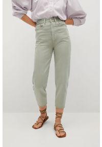 Zielone jeansy loose fit mango z podwyższonym stanem