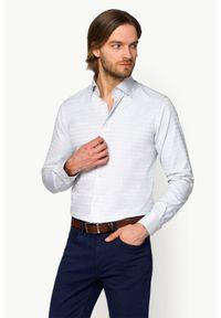 Lancerto - Koszula Popielata w Kratę Paola. Kolor: szary. Materiał: tkanina, bawełna. Wzór: ze splotem. Styl: elegancki