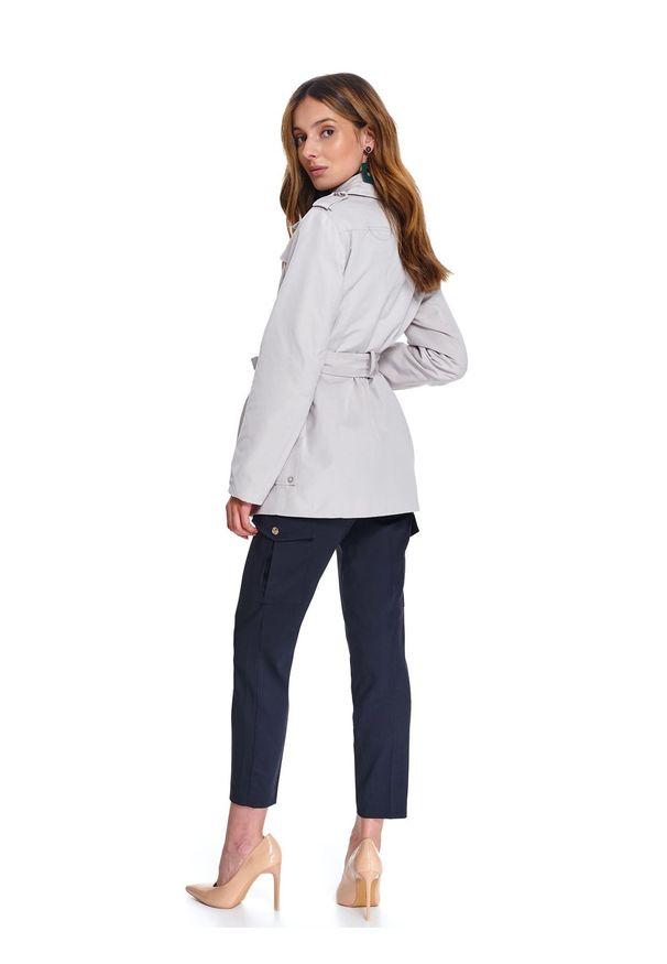 Kremowy płaszcz TOP SECRET na wiosnę, do pracy, w kolorowe wzory, krótki