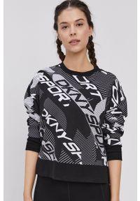 DKNY - Dkny - Bluza. Kolor: czarny. Materiał: dzianina. Długość rękawa: długi rękaw. Długość: długie