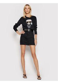 Karl Lagerfeld - KARL LAGERFELD Bluza Ikonik 210W1820 Czarny Regular Fit. Typ kołnierza: dekolt w karo. Kolor: czarny