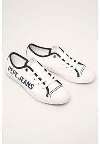 Białe tenisówki Pepe Jeans z cholewką, na sznurówki