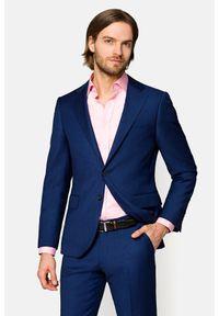 Lancerto - Garnitur Granatowy Rosario. Kolor: niebieski. Materiał: bawełna, materiał, wełna. Wzór: gładki