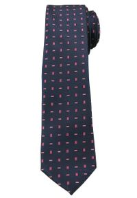 Ciemny Niebieski Elegancki Krawat -Angelo di Monti- 6 cm, Męski, w Różowy Wzór. Kolor: niebieski, różowy, wielokolorowy. Wzór: geometria. Styl: elegancki