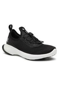 Czarne buty do biegania salomon na płaskiej podeszwie, z cholewką