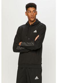 Czarna bluza nierozpinana Adidas z kapturem, casualowa