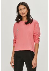 Różowa bluzka z długim rękawem Femi Stories na co dzień, casualowa, z nadrukiem