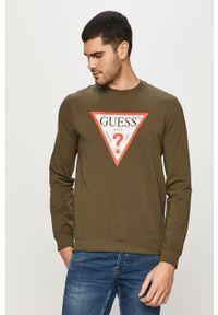 Oliwkowa bluza nierozpinana Guess z nadrukiem, casualowa, na co dzień, bez kaptura
