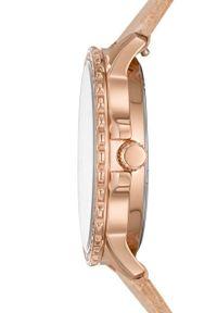 Fossil - FOSSIL - Zegarek ES4888. Kolor: beżowy. Materiał: skóra, materiał