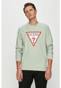 Zielona bluza nierozpinana Guess bez kaptura, casualowa, z nadrukiem, na co dzień