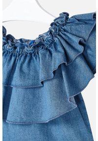Niebieska bluzka Mayoral z dekoltem typu hiszpanka, casualowa, na co dzień, bez rękawów