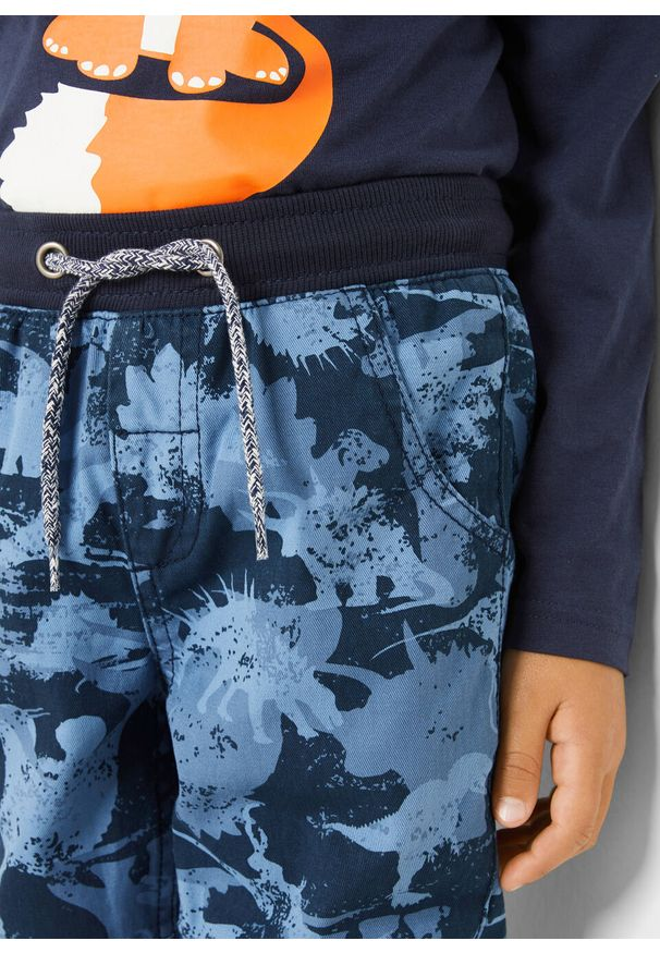 Niebieskie spodnie bonprix z nadrukiem