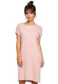 BE - Bawełniana sukienka midi z kieszeniami w szwach. Okazja: na co dzień. Materiał: bawełna. Styl: casual. Długość: midi