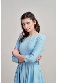 Marie Zélie - Sukienka Anastazja błękitna. Kolor: niebieski. Materiał: bawełna, dzianina, materiał, elastan, skóra. Typ sukienki: rozkloszowane. Styl: klasyczny