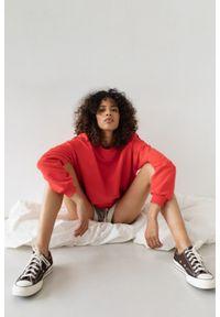 Marsala - Bluza damska o kroju regular fit w kolorze STRAWBERRY RED - BASKET BY MARSALA. Materiał: dresówka, bawełna, jeans, dzianina, poliester. Sezon: lato, jesień, wiosna, zima. Styl: klasyczny