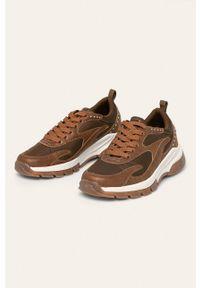 Brązowe buty sportowe ANSWEAR na sznurówki, na obcasie, z cholewką, na średnim obcasie