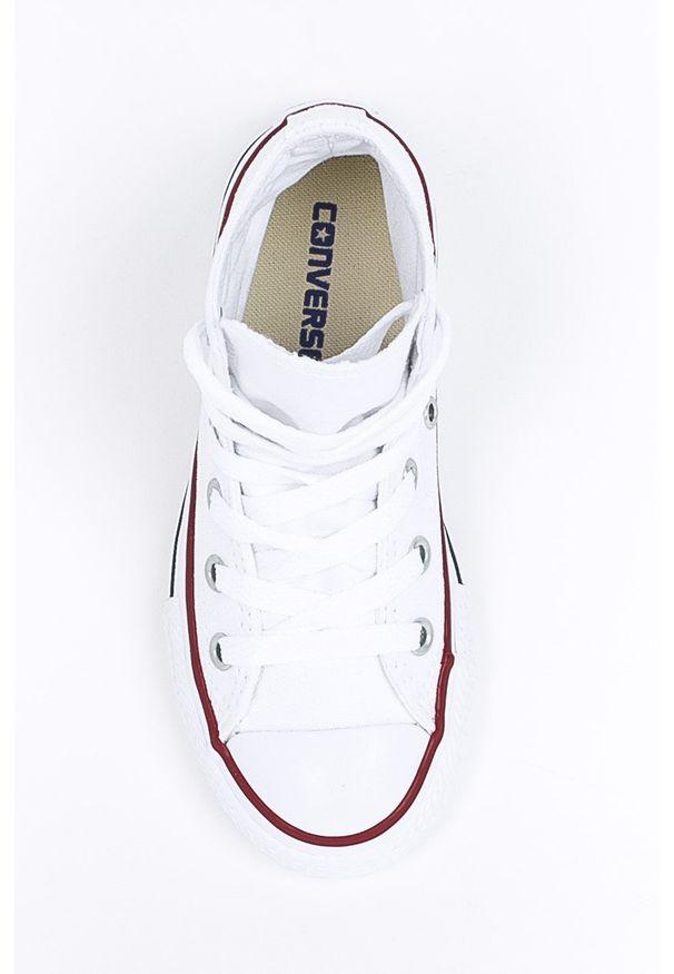 Białe trampki Converse na sznurówki, z cholewką, z okrągłym noskiem