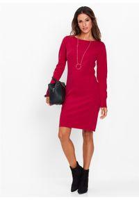 Sukienka dzianinowa bonprix czerwień granatu. Kolor: czerwony. Materiał: dzianina. Długość rękawa: długi rękaw. Wzór: gładki