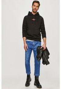 Czarna bluza nierozpinana Calvin Klein Jeans casualowa, z kapturem, na co dzień, z aplikacjami