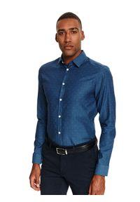 Niebieska koszula TOP SECRET na co dzień, z długim rękawem