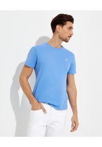 Ralph Lauren - RALPH LAUREN - T-shirt niebieski Custom Slim Fit. Typ kołnierza: polo. Kolor: niebieski. Materiał: bawełna. Styl: elegancki