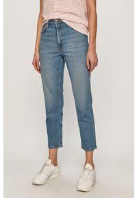 Niebieskie proste jeansy Lee z podwyższonym stanem