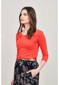 Marie Zélie - Bluzka Lovoa czerwień wiosenna. Kolor: czerwony. Materiał: bawełna, dzianina, materiał, elastan, skóra. Sezon: wiosna