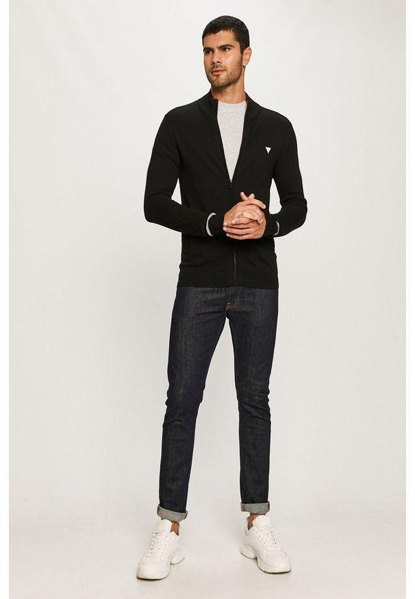 Czarny sweter rozpinany Guess Jeans na co dzień, casualowy
