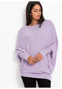 Fioletowy sweter bonprix w prążki